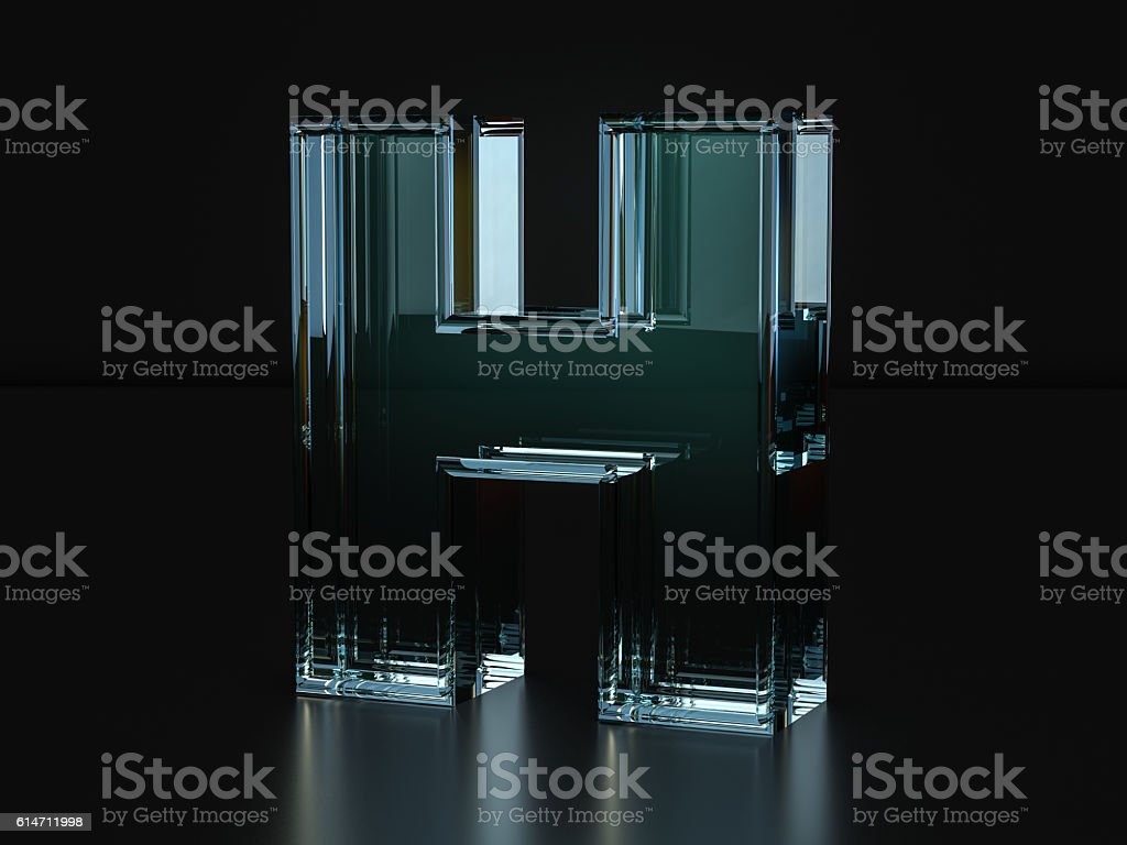 Glass letter H stock photo