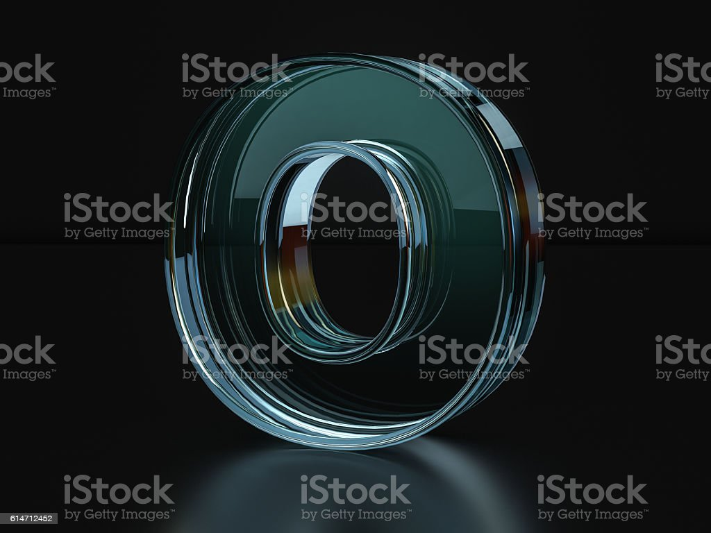 Glass letter O stock photo