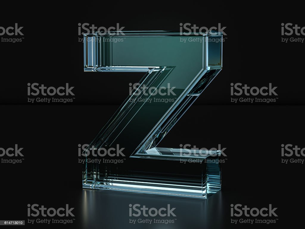 Glass letter Z stock photo