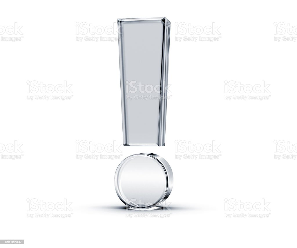 3D glass like exclamation mark on white background stock photo