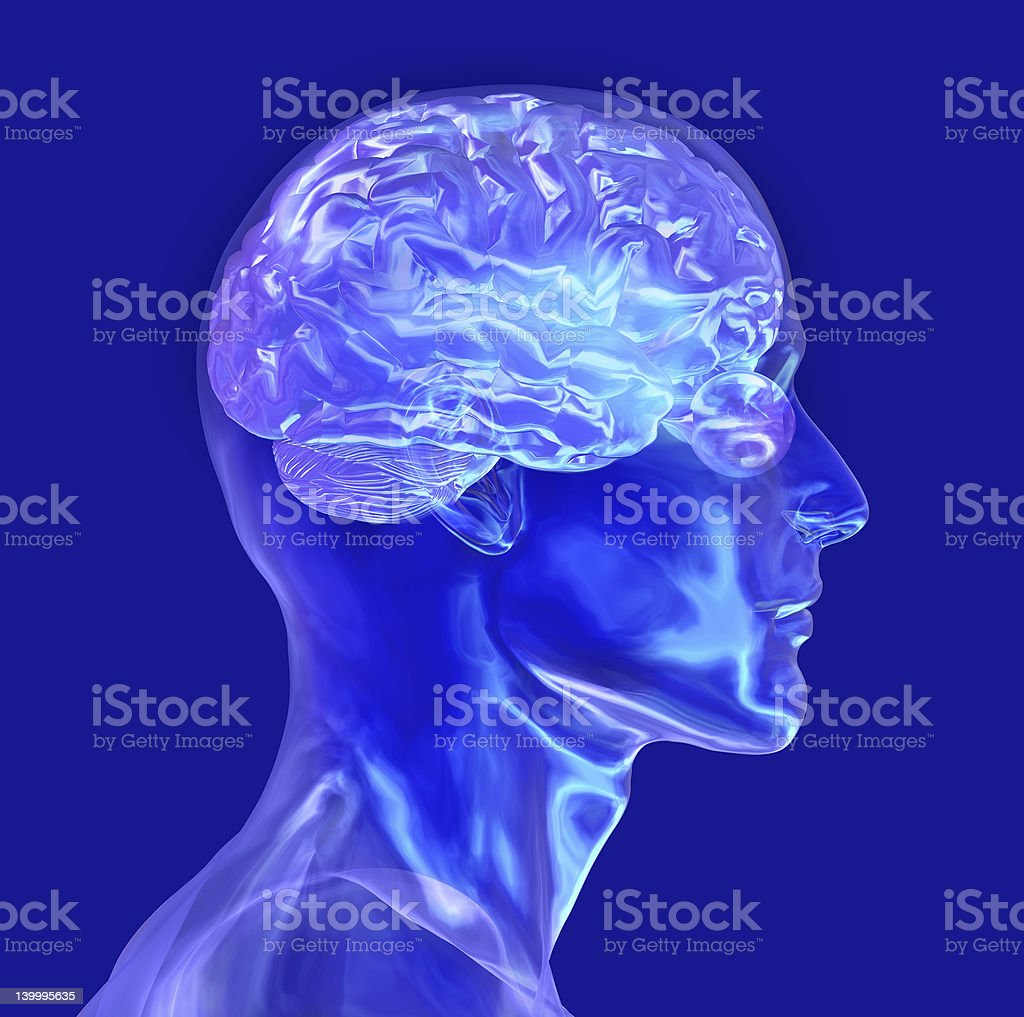 Glass Male Head with Brain - includes clipping path stock photo
