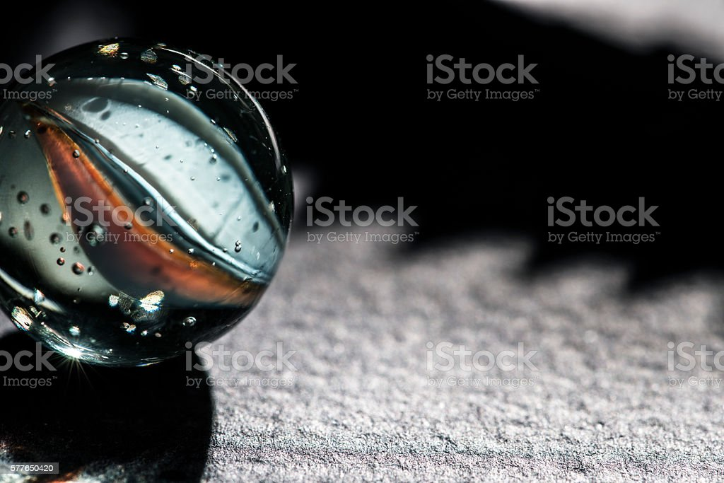 Glass marble close up stock photo