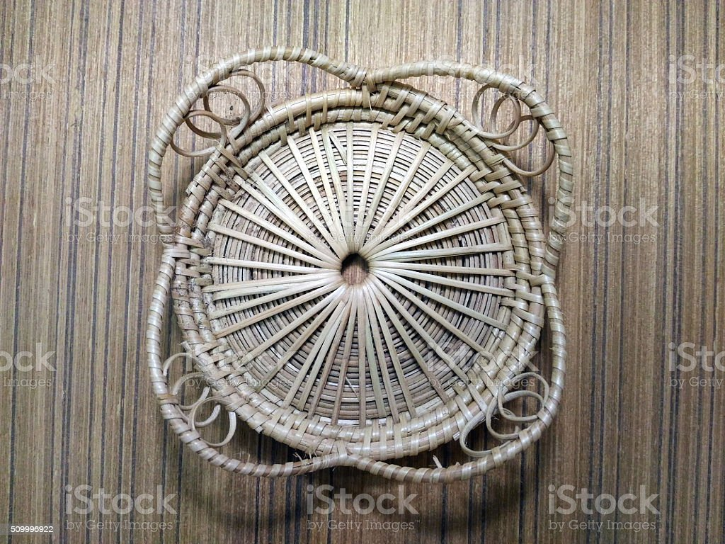 Glass mat made of rattan stock photo