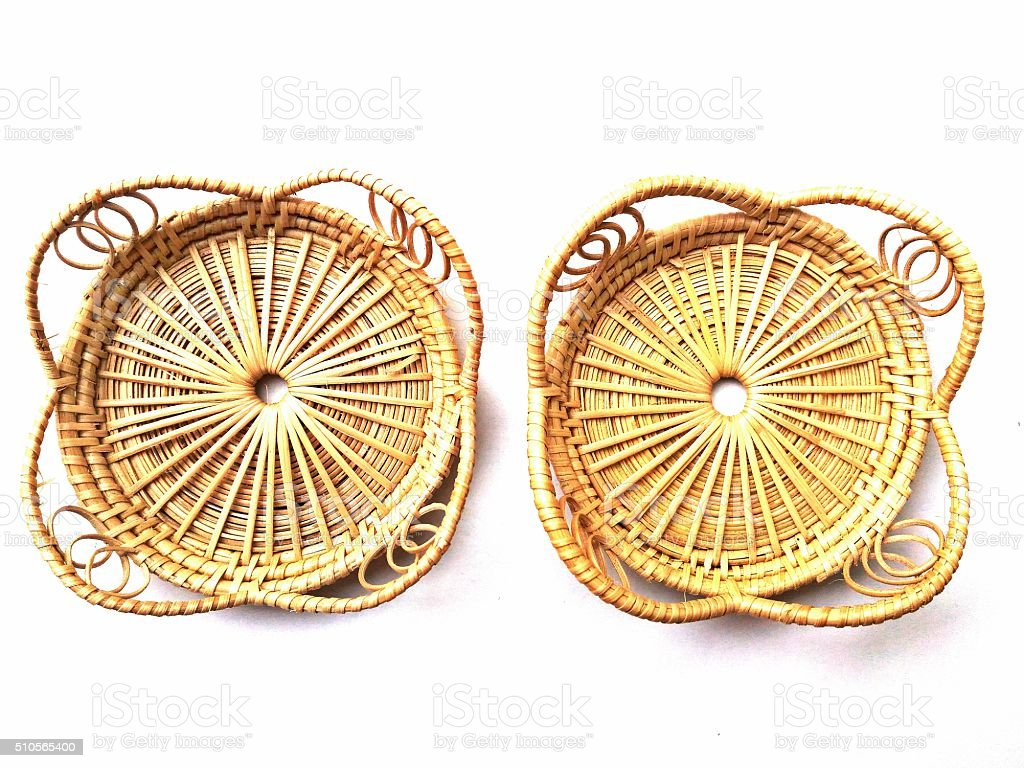 Glass mat made of rattan (hand made product from Thailand) stock photo
