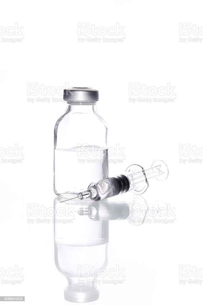 Glass Medicine Vial and glass syringe  for Injecting isolated stock photo