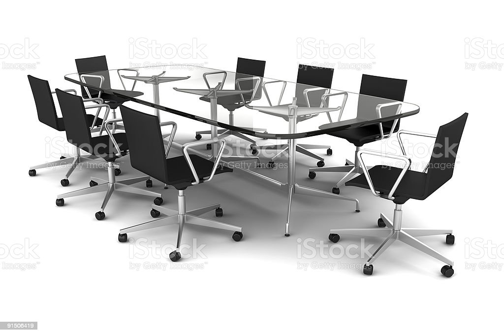 glass meeting table with black chairs isolated on white royalty-free stock photo
