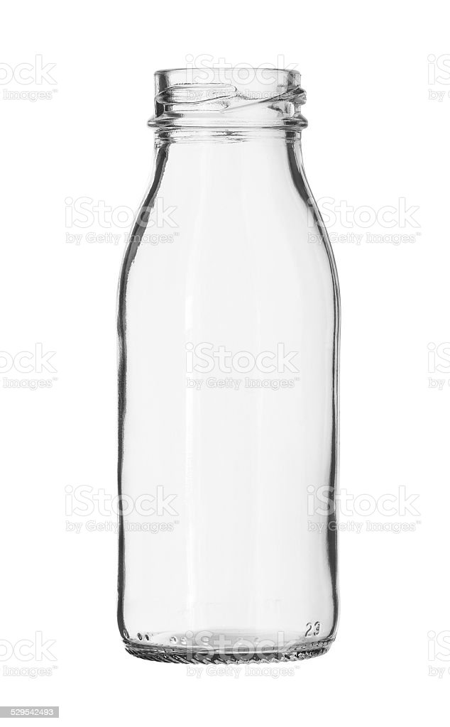 Glass Milk Bottle no Cap isolated on white background stock photo