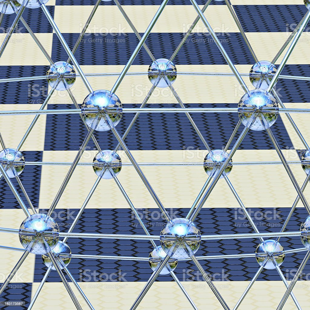 Glass molecular structure - 3d rendered illustration stock photo