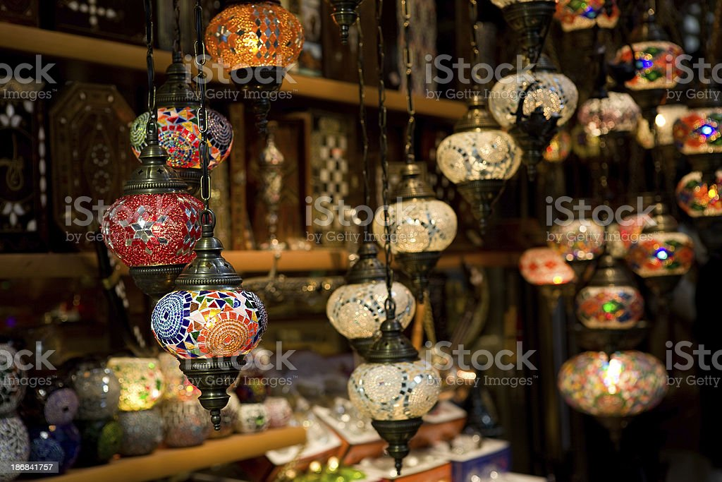 Glass mosaic lamps in Istanbul grand bazaar royalty-free stock photo