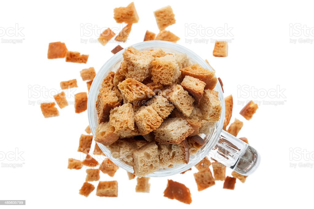 Glass Mug with bread croutons stock photo