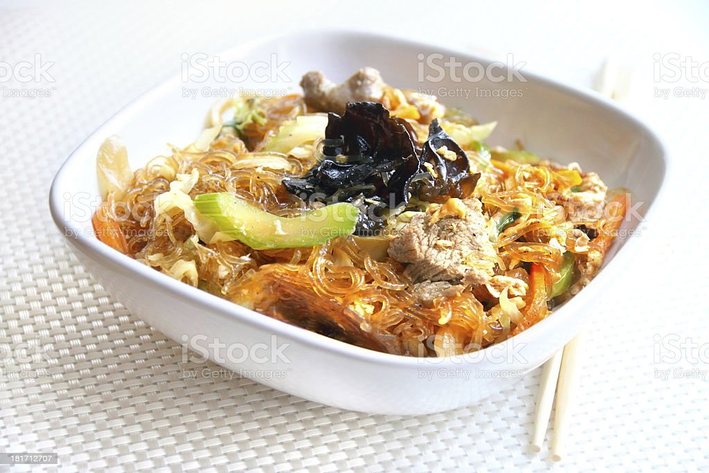Glass noodles with beef, vegetables and eggs royalty-free stock photo