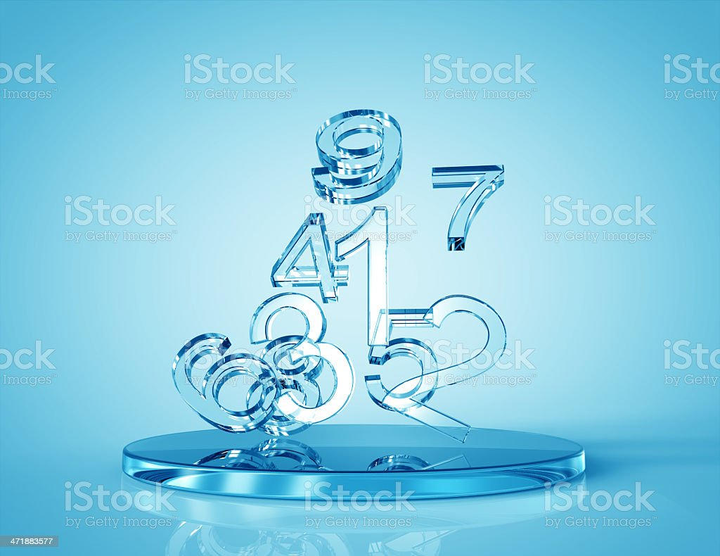 Glass Numbers 3d concept stock photo