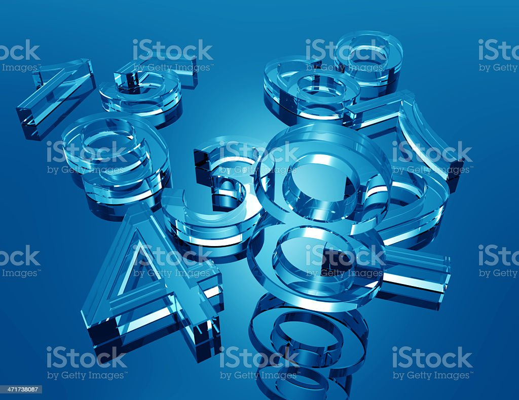 Glass Numbers stock photo