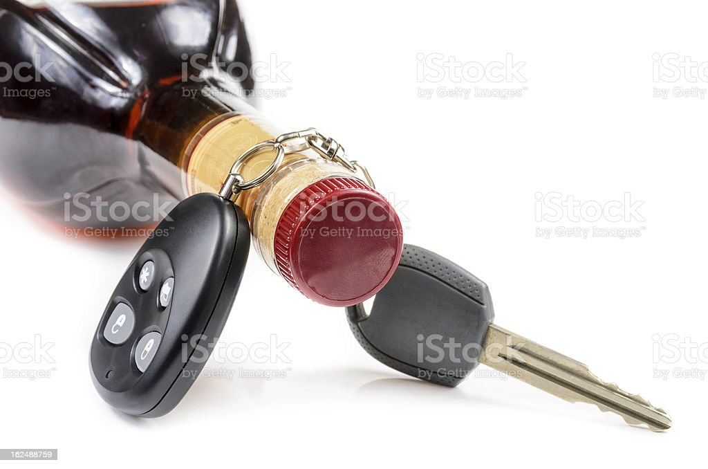 glass of alcohol and car keys royalty-free stock photo
