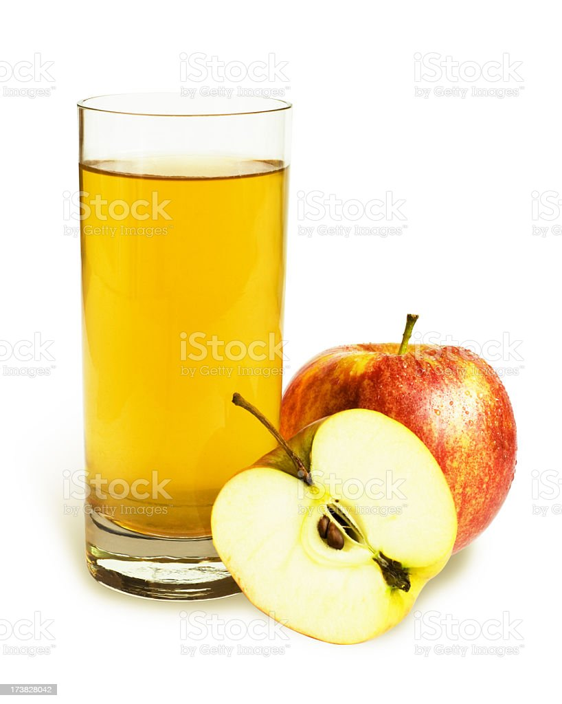 Glass of apple juice with apples stock photo