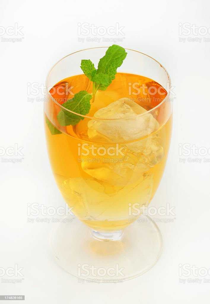 glass of apple juice with ice and mint royalty-free stock photo