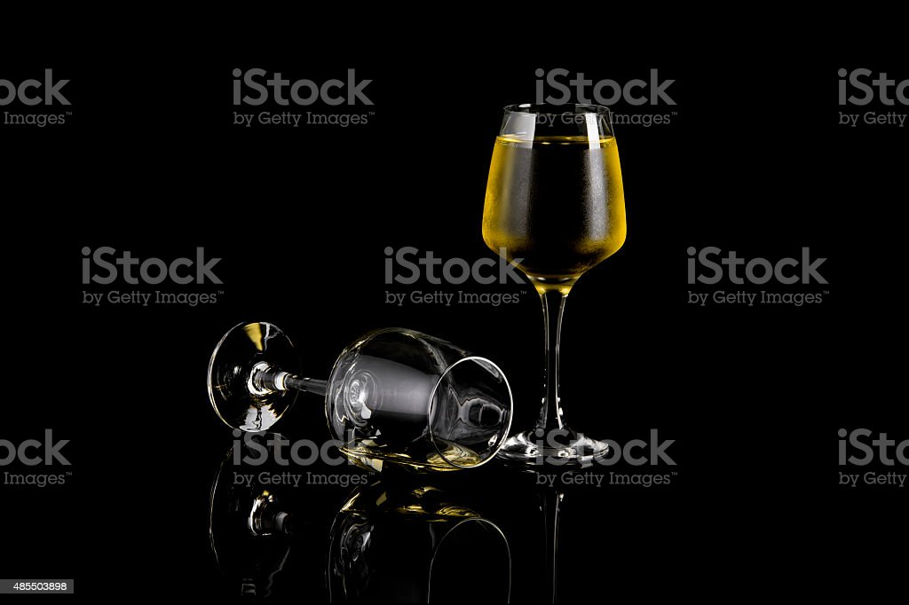 Glass of Apple or Pineapple  Wine On Black royalty-free stock photo