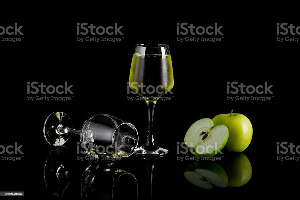 Glass of Apple Wine On Black royalty-free stock photo