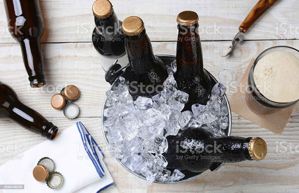 Glass of Beer and Bucket stock photo