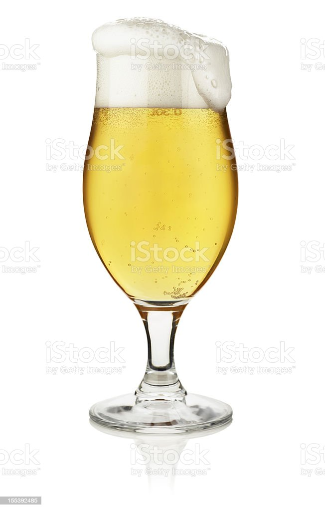 Glass of beer isolated on white with clipping path royalty-free stock photo