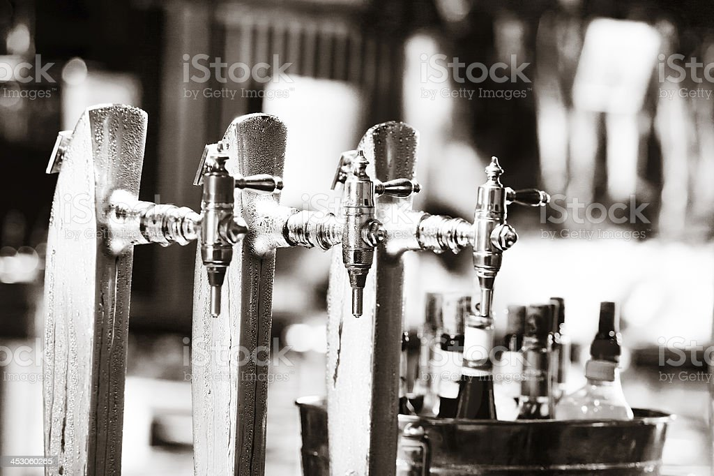 Glass of beer on pub over blurred  background royalty-free stock photo