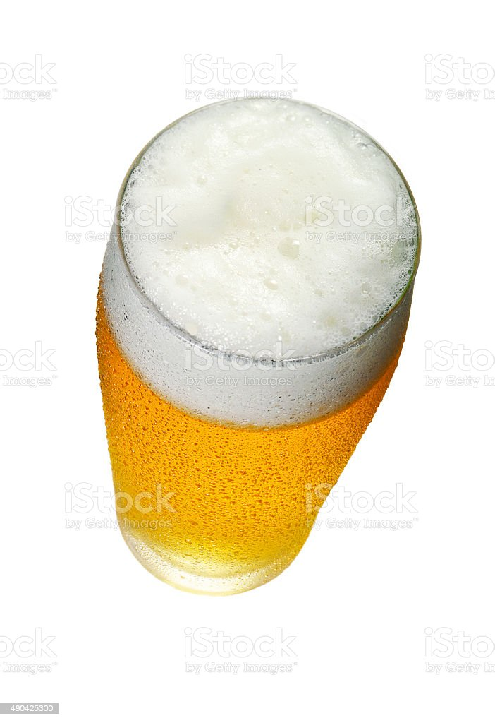 Glass of Beer top View stock photo