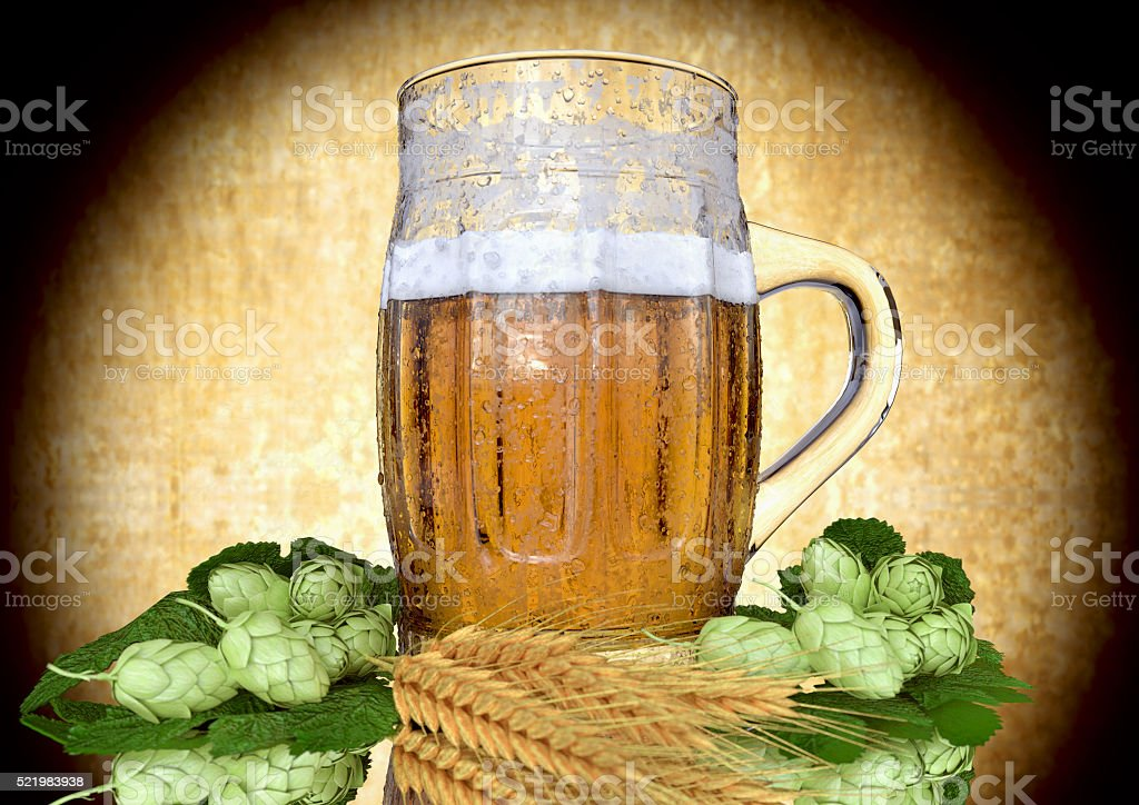 glass of beer with barley and hops - 3D ender stock photo