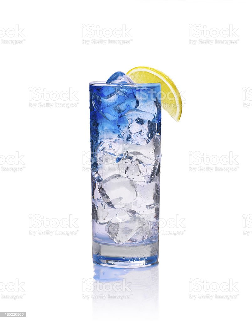 glass of  blue coctail with ice stock photo