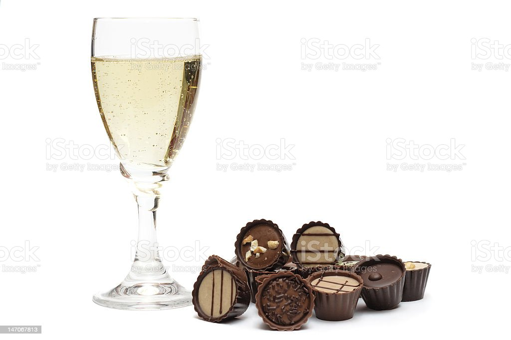 Glass of Champagne and Chocolate royalty-free stock photo