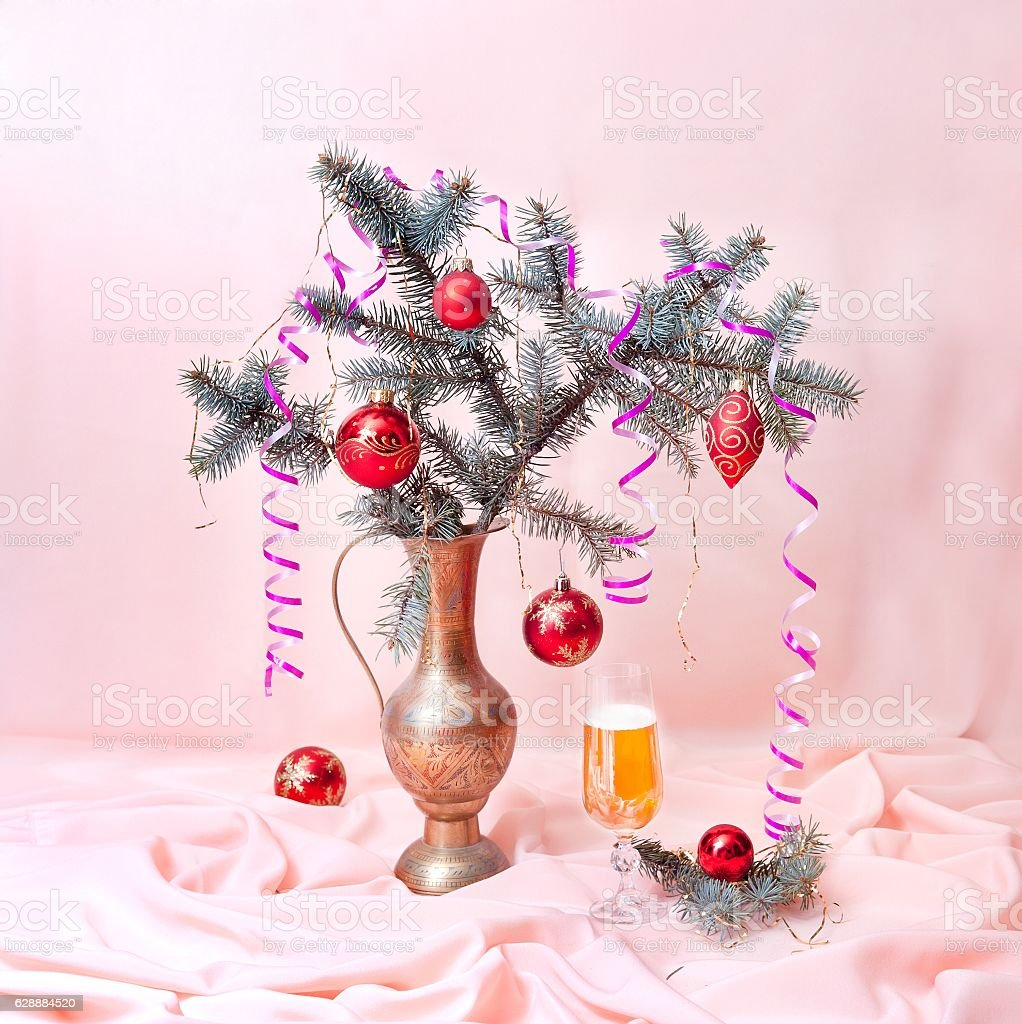 Glass of champagne and fir tree branch stock photo