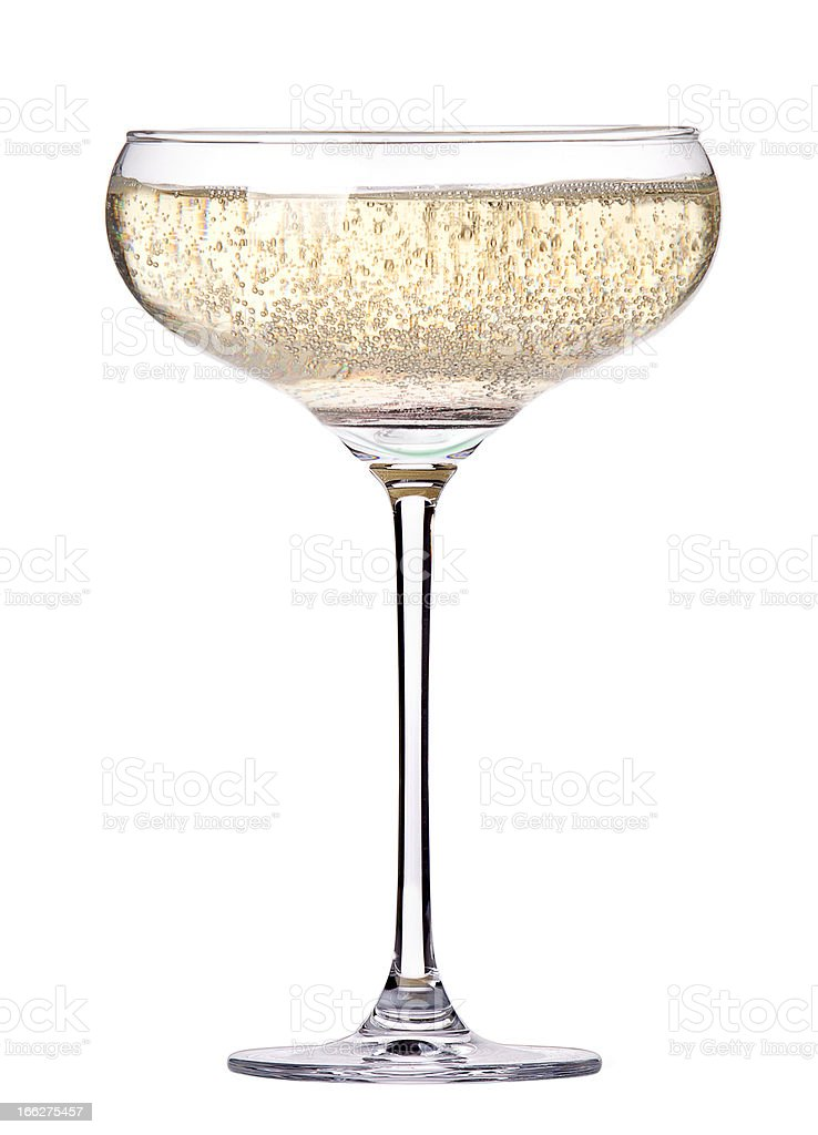 glass of champagne isolated stock photo