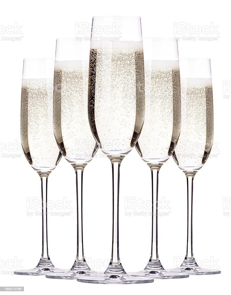 glass of champagne set isolated royalty-free stock photo