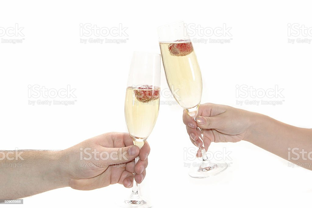 glass of champagne with strawberry stock photo