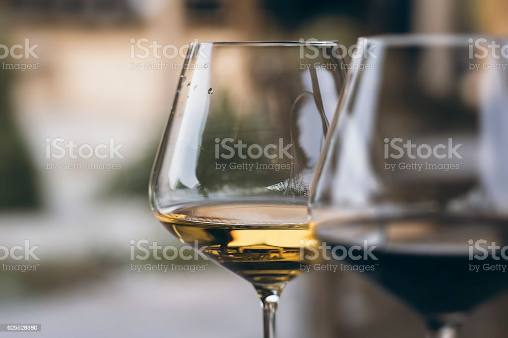 Glass of Chardonnay White Wine Close Up stock photo