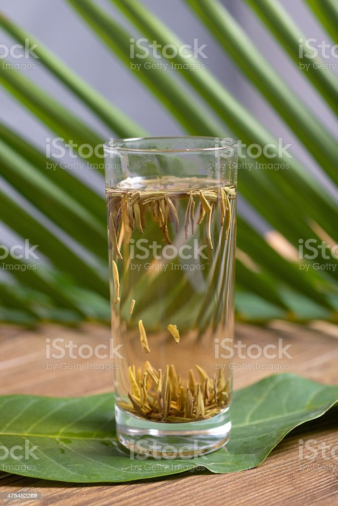 Glass of Chinese green tea stock photo