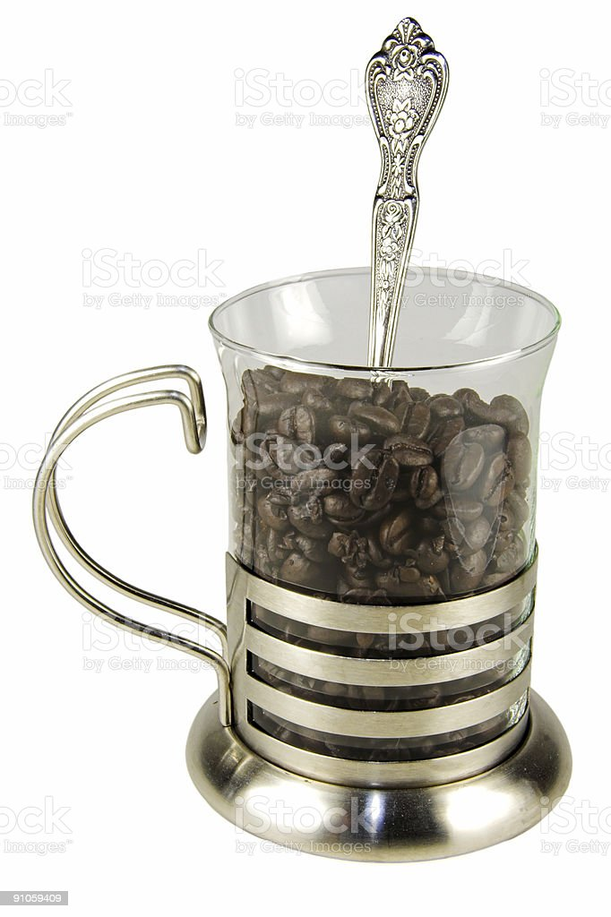 Glass of coffee beans royalty-free stock photo