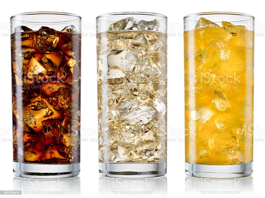 Glass of cola, fanta, sprite isolated. With clipping path stock photo