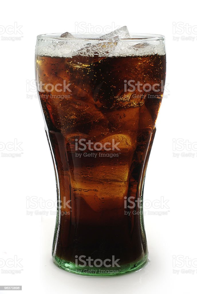 Glass of cola with ice on white background royalty-free stock photo
