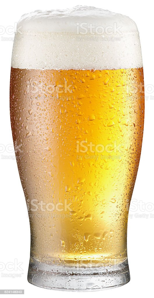 Glass of cold beer on a white background. stock photo