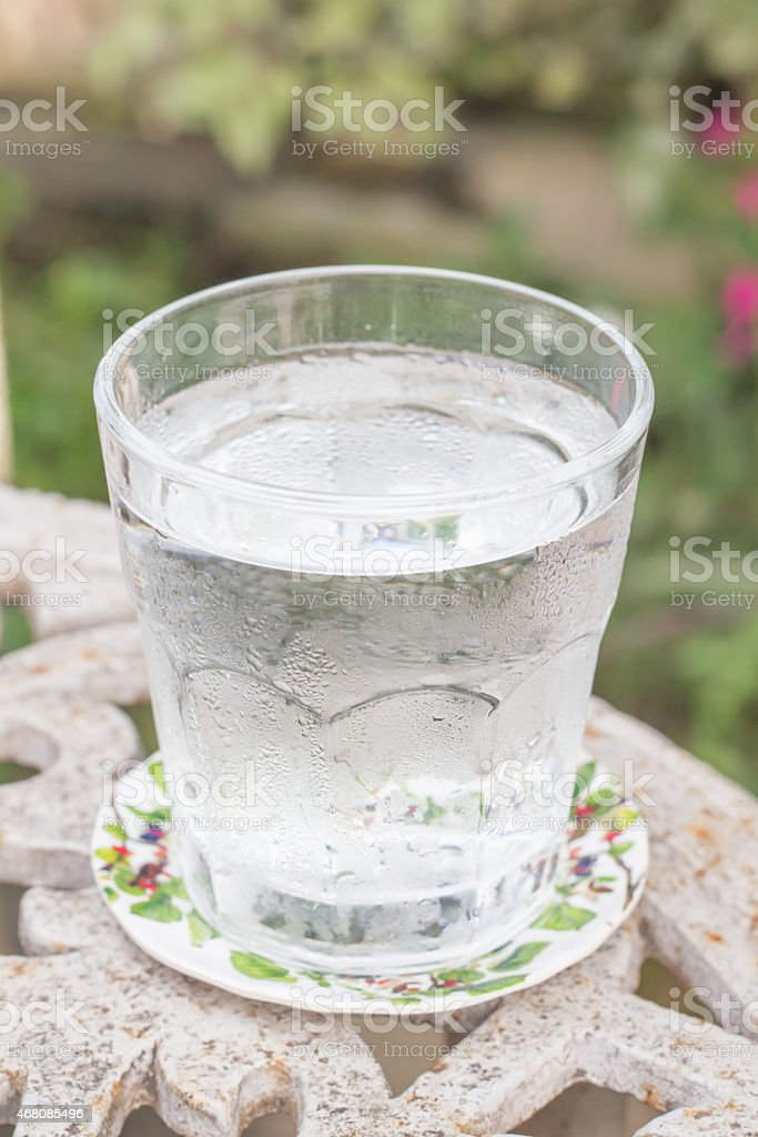 Glass of cold water stock photo
