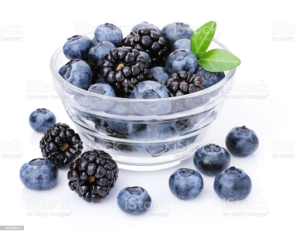 Glass of delicious blueberries and blackberries. royalty-free stock photo