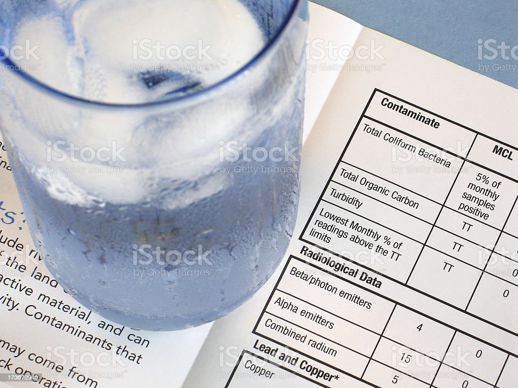 Glass of Drinking Water on Water-test Contaminates Results Chart stock photo