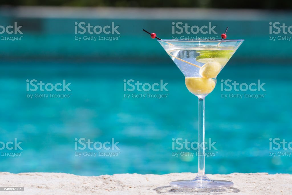 Glass of dry martini cocktail stock photo