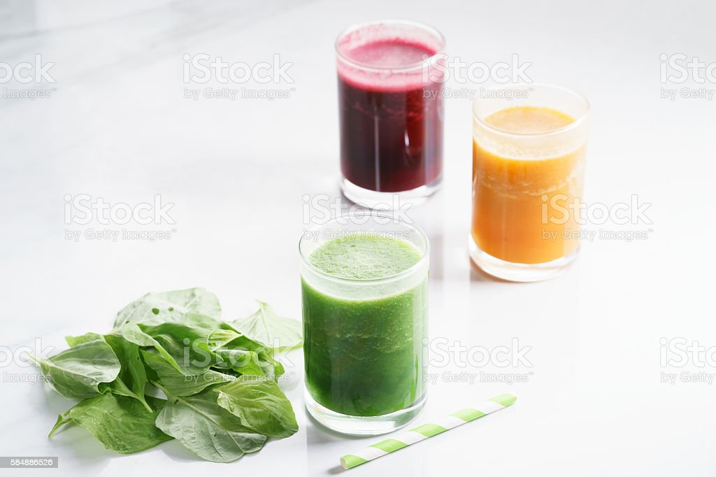 glass of fresh colorful healthy smoothie stock photo