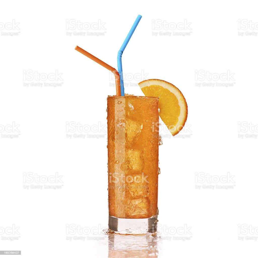 glass of frozen orange drink stock photo