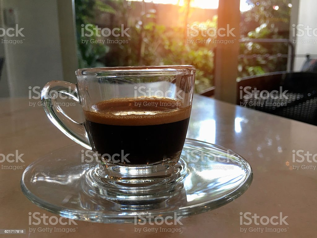 Glass of hot Americano on the table royalty-free stock photo