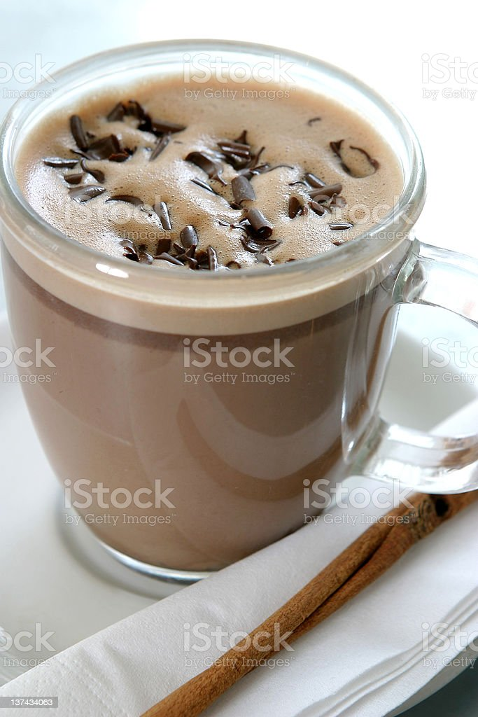 Glass of hot chocolate royalty-free stock photo