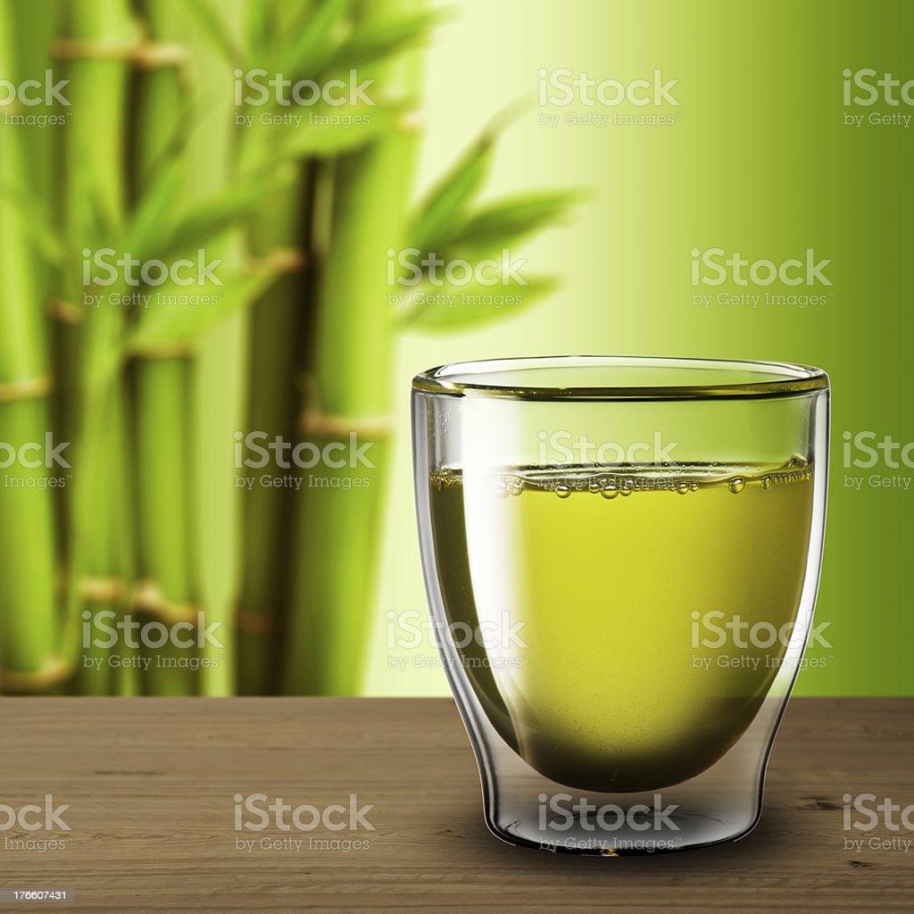 Glass of Hot Green Tea royalty-free stock photo