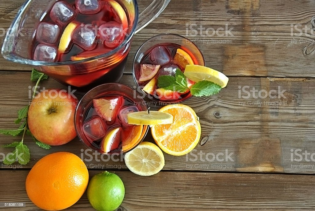 glass of ice cold Sangria stock photo