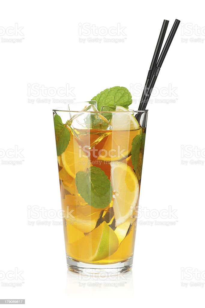 Glass of ice tea with lemon, lime and mint royalty-free stock photo